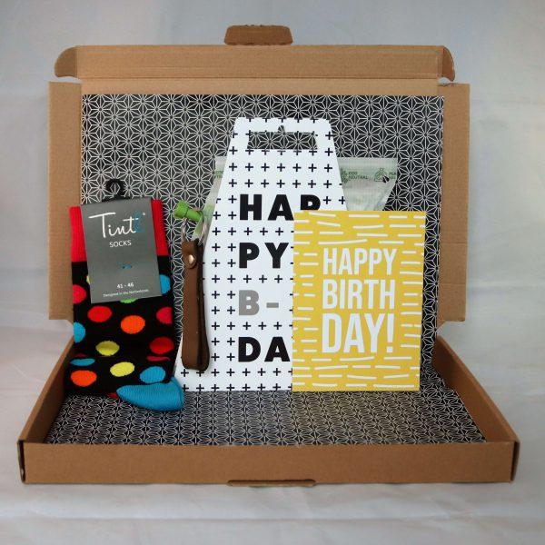 Sokken_sleutelhanger_leer_verjaardag_thee_happy_birthday_mannencadeau_giftsbygötts